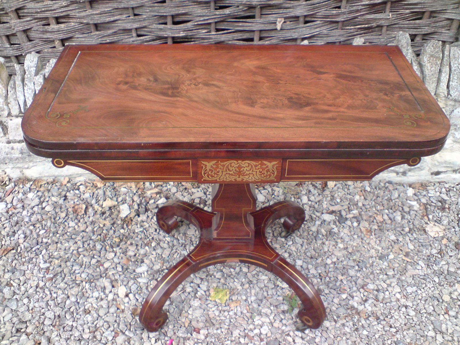 Antique card table regency card table inlaid card table antique - Regency Mahogany Antique Card Table