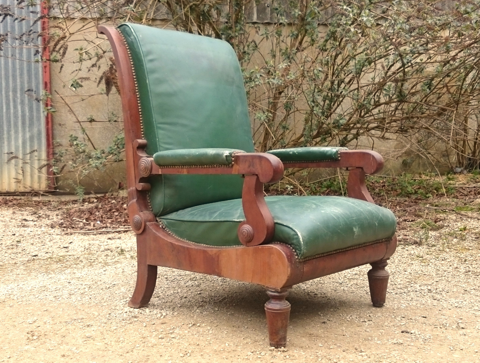 Antique reclining library chair - Antique Wing Chairs - Hares Antiques