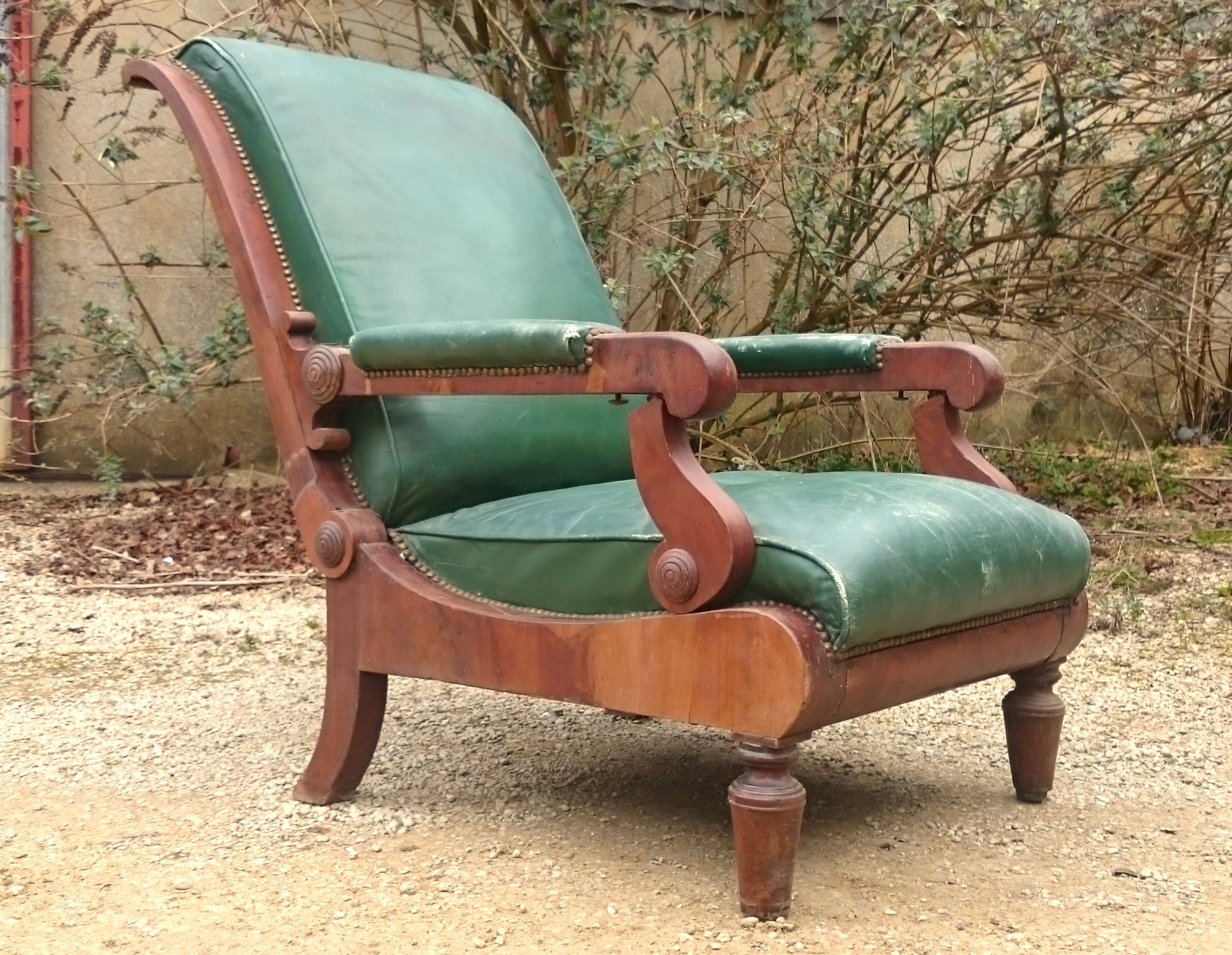 Antique reclining library chair1.jpg ... - Antique Wing Chairs - Hares Antiques