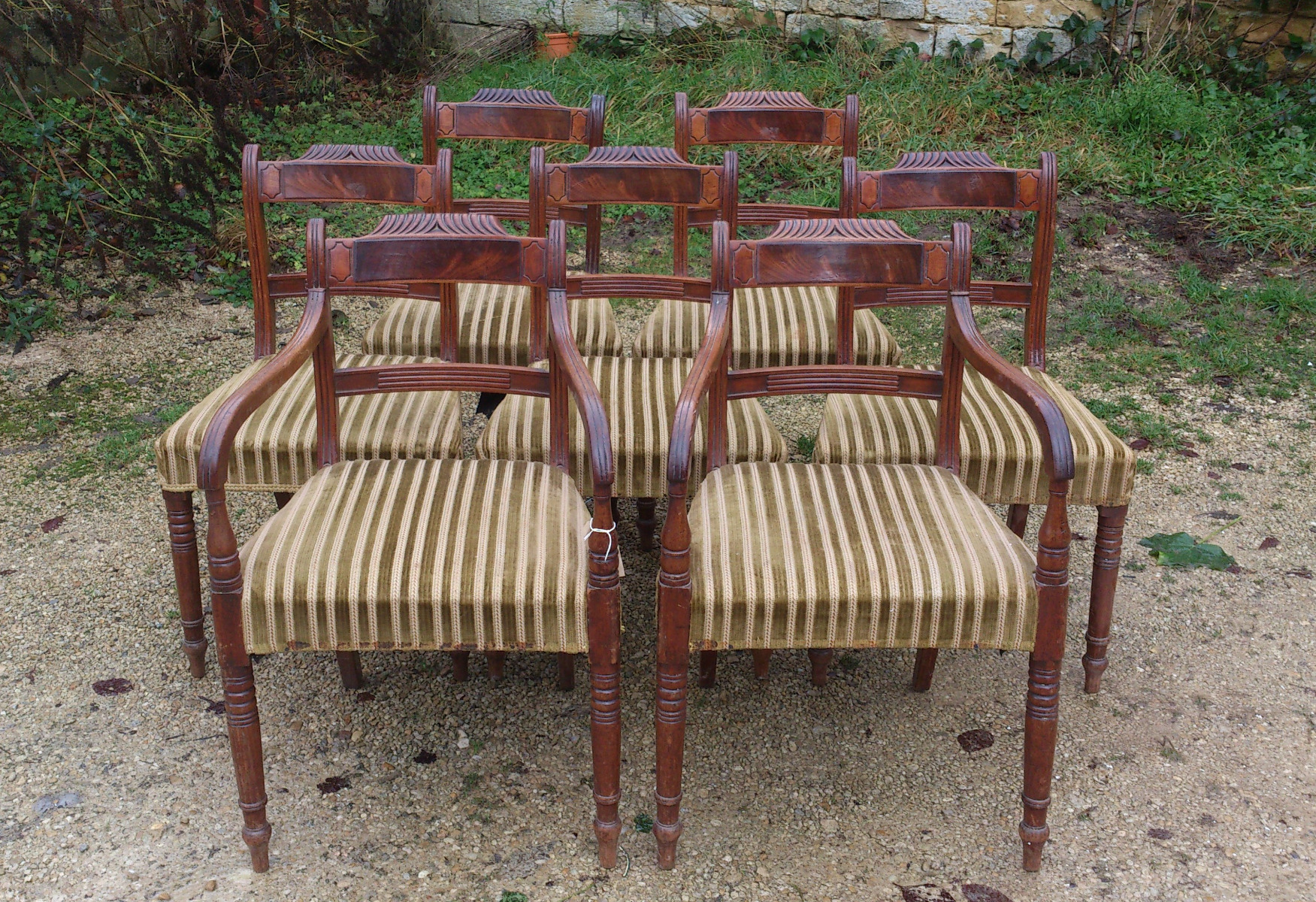 Antique regency dining chairs - Set Of 8 Regency Mahogany Antique Dining Chairs