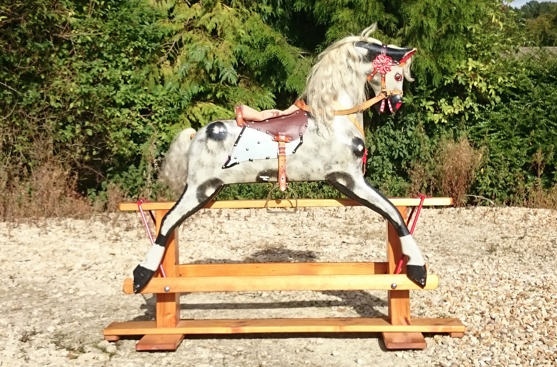 Rocking horses hares antiques for Hand crafted rocking horse