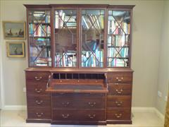 George III mahogany and glazed antique breakfront secretaire bookcase1.jpg