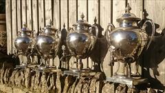 Antique Set Of Four Silver Plated Kettles 20high 14wide 12deep 8.JPG
