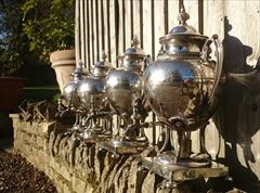 Antique Set Of Four Silver Plated Kettles 20high 14wide 12deep 9.JPG