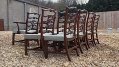 Set of 10 Chippendale ladder back mahogany antique dining chairs4.jpg