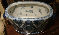 Antique Washbowl With Fish Pictures Inside 3.JPG