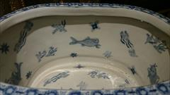 Antique Washbowl With Fish Pictures Inside 4.JPG